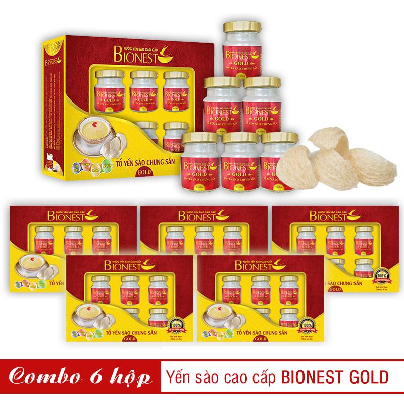 Bộ 6 Yến sào Bionest Gold cao cấp - hộp quà tặng 6 lọ