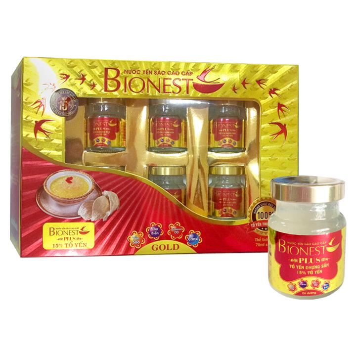 Hộp Yến sào Bionest Plus cao cấp15% - hộp quà tặng 6 lọ